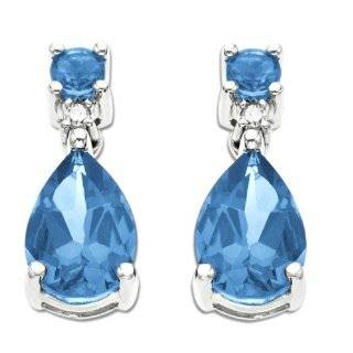 White Gold Pear Shaped Blue Topaz Dangle Earrings Jewelry