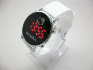 Hello Kitty Lady Girl LED Wrist Watch red led light Silicone watchband