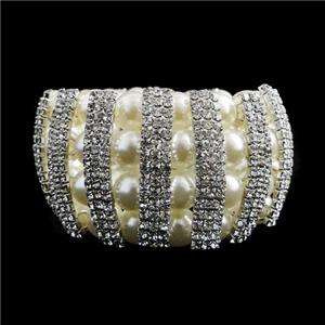 Wedding Faux Pearl Stretch Bracelet Swarovski Crystal Beaded Clear