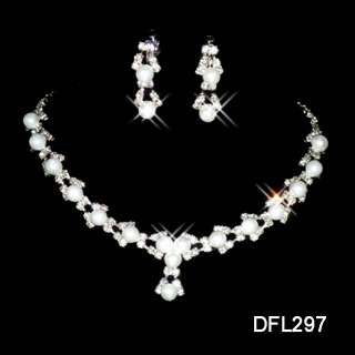 Wedding costume crystal Pearl earring Jewelry sets 297
