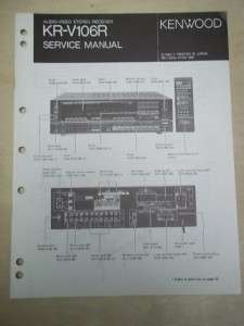 Vtg Kenwood Service/Repair Manual~KR V106R Receiver~Original