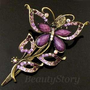ADDL Item  rhinestone crystal butterfly hair clamp claw