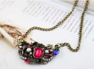 NEW Retro Bronze Beads Gem Metal Leaf Flower Pendant Necklace
