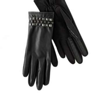 Womens Faux Leather Black Studded Driving Gloves osfm