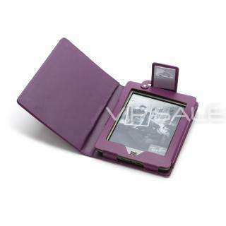 KINDLE TOUCH PURPLE LEATHER COVER CASE WITH BUILT IN LED READING LIGHT
