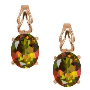4.60 Ct Oval Mango Mystic Topaz 18k Rose Gold Earrings