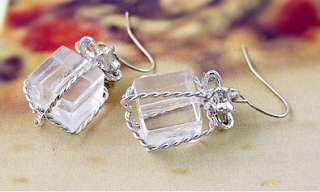 New Fashion Jewelry womens silver crystal box earring stud