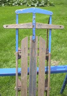 VINTAGE Wooden Snow Toboggan FLYER Sled GREAT |