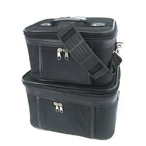 Train Case Cosmetic Toiletry 2 Piece Luggage Set Solid Black Beauty