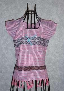 Hippie Vintage Mexican Tunic Blouse Telar Top Woman Medium