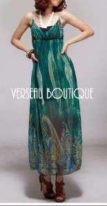 NEW Empire Waist Turquoise Chiffon Maxi Dress