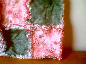 Toddler little girl rag quilt purse Pink Skulls & teal