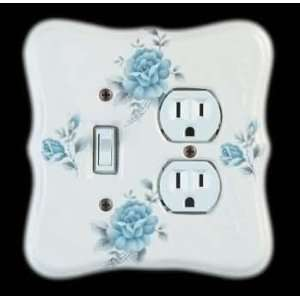 Switchplates Blue Porcelain, Bouquet Toggle/Outlet wall plate