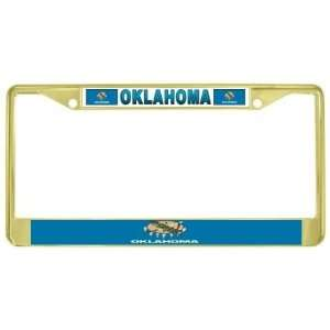 Ok State Flag Gold Tone Metal License Plate Frame Holder Automotive