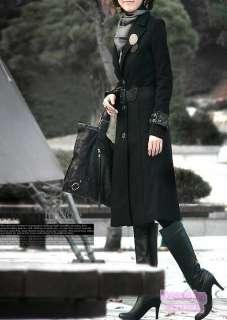 Boho 80s 70s Womens Black Wool Blend Jacket Coat