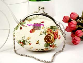 Fashion Lady Rose Flower Coin Bag Wallet Purse Chain wt