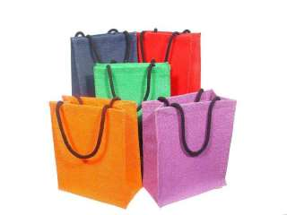 JUTE GIFT BAGS RED, HUNTER GREEN, PURPLE or NAVY BLUE   NEW