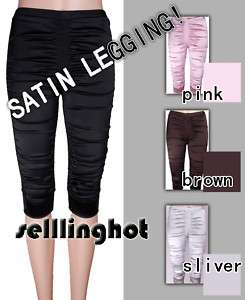 NWT Stretch Satin Shiny CAPRI Leggings Pants 4 COLORS