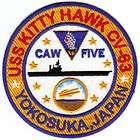 US NAVY SHIP PATCH, USS KITTY HAWK, CV 63, CAW 5, YOKOSUKA JAPAN Y