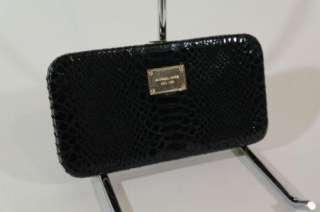 Michael Kors Grayson Black Python Leather Springlock Clasp Large Frame