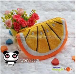 Women Cute Lemon Orange Key Coin Bag Wallet Purse #248