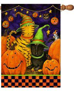 Halloween Cats Pumpkins Mouse Party Large Flag