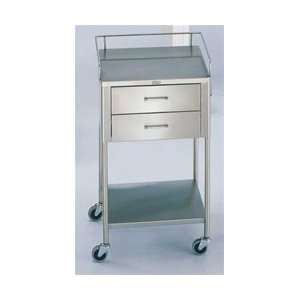 SS Anesthesia Utility Table with Guard Rail and Two