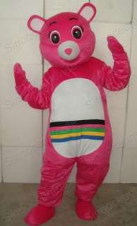 PINK TEDDY BEAR ADULT CARTOON MASCOT COSTUME OUTFIT