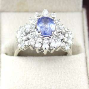 14K White Gold Ladies Natural Blue Sapphire 1.33ct Diamond 1.02 Carat