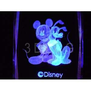 Disney Mickey Mouse with Pluto 3D Laser Etched Crystal