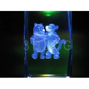 Disney Pooh Bear & Tigger 3D Laser Etched Crystal A2
