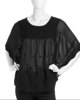 Romeo & Juliet Couture Cape Sleeve Embroidered Top