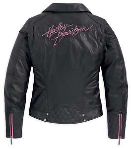 Womens Harley Davidson Pink Label Special Edt. Leather Biker Jacket