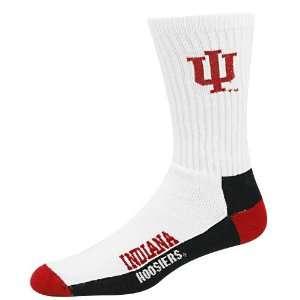 Indiana Hoosiers White Woven Logo 8 13 Tall Socks  Sports