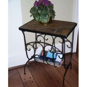 Black Magazine End Table with Slate Top: Home & Kitchen