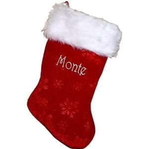 Christmas Stocking 17 in. Etched Snowflake Plush Cu