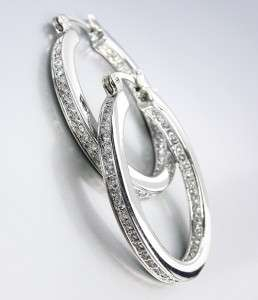 White Gold Plated Inside Outside CZ Crystals OVAL Hoop Earrings