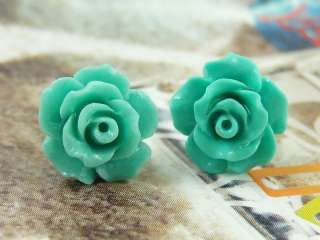 Premier Design Rose Tiffany Blue Lucite Stud Earrings
