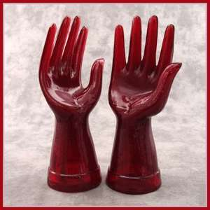 RUBY RED GLASS MANNEQUIN JEWELRY RING DISPLAY HANDS