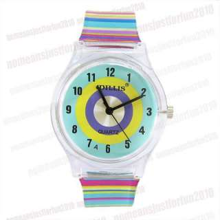 Colourful PVC Band Girls Ladies Quartz Watch M493C