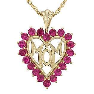 Created Ruby Heart Mom Pendant in 18K Gold Over SS  Jewelry Gemstones
