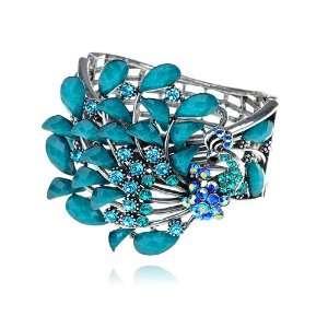 Sapphire Crystal Rhinestone Peacock Bird Bracelet Bangle Jewelry