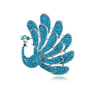 Stunning Blue Crystal Rhinestone Feathered Peacock Bird Pin Brooch