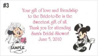 25 Mickey Minnie Bridal Shower Wedding Favor Gift Tags