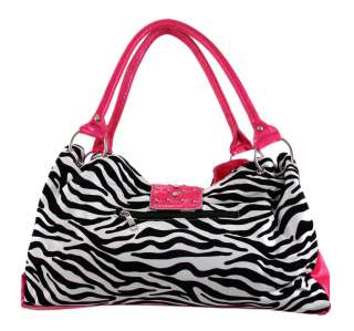 Zebra Striped Studded Rhinestone Buckle Purse Hot Pink Trim