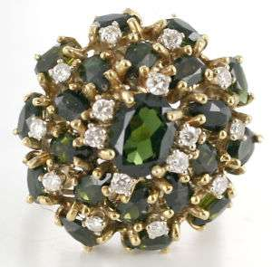 14KT Gold Green Tourmaline & Diamond Cocktail Ring