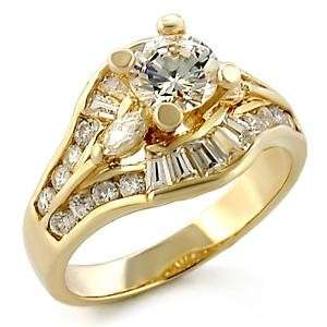 45ct. CUBIC ZIRCONIA 14kt GOLD PLATED RING Sz 5 10