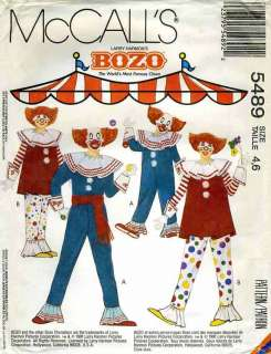 Childs BOZO the Clown Costume   Vintage McCalls 5489 Sewing Pattern