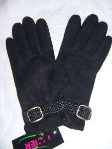 Black Cashmere Suede,Braided Wrist Strap Leather Gloves