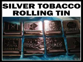 SILVER FINISH TOBACCO ROLLING MACHINE SMOKING TIN GIFT